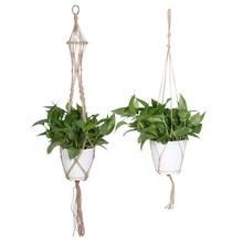 Plant Hanger Pot Holder Polypropylene Fiber Rope Handmade Macrame 4 Leg Bright White Garden Home Decoration Flower Plant Display