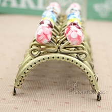 20pcs 8.5 CM Antique bronze Coin metal Purse Frames 10 Color Candy Head Bag Kiss Clasp bagDIY Accessories(China)