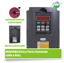 2.2KW VFD Drive 380V spindle inverter frequency converter &Optional parts (extension cable + box) Huanyang Factory direct  sales