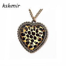 kshmir Restore ancient ways leopard grain peach heart pendant long necklace Sweater chain