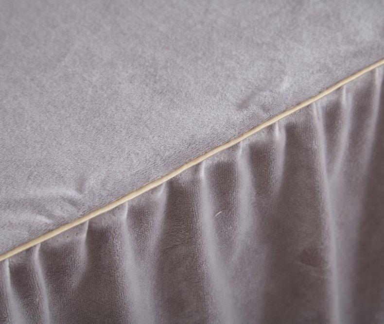 3Pcs Fleece Bed Skirt Set W/ Pillowcases, Mattress Protective Cover 29