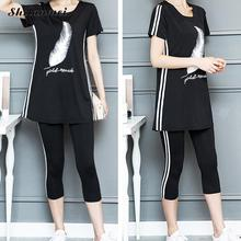 Black Printed Women's Sets Short Sleeve T Shirt Tops And Pants Suits Women Summer Tracksuits Outfit Two Piece Sets Sporting Suit