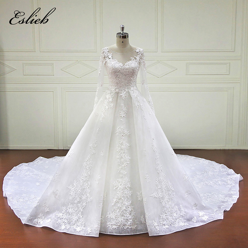 Eslieb High-end Custom made Ball Gown Wedding Dresses 2018 Newest Desgin Lace Appliques Pearls Bridal Gowns Vestido De Novias