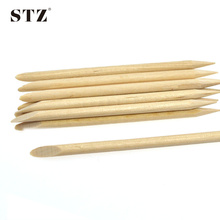 STZ 20pcs 7.5cm Orange Wood Stick Cuticle Pusher Remover Manicure Tools Nail Art Two Ways Wooden Tools CH01(China)