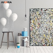 Jackson Pollock Abstract Art White Light Random Accumulation Canvas Print Painting Art Wall Pictures For Living Room, Home Decor