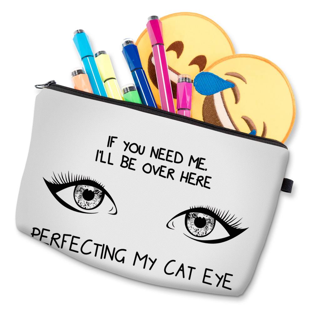 """I Like My Eyelashes"" Printed Makeup Bag Organizer 19"