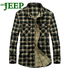 AFS JEEP Best Selling Men's Fine Plaid Cotton Young Men Shirts Office Brand High Quality Luxury Male Army Dress Men Shirts 70(China)