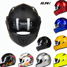 DOT Approved Motorcycle Helmet with Inner Sun Visor Safety Flip Up Double Lens Dual Visor Racing Motocross Quad ILM Helmet Black(China)