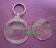 Free shipping 35pcs/lot Round Transparent Blank Insert Photo Picture Frame Key Ring Split keychain