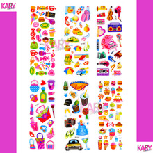 6 Sheets Holiday Party Picnic Snacks Candy Lollipop Cake Foods Music Musical Instruments Cosmetics Scrapbooking Bubble Stickers(China)