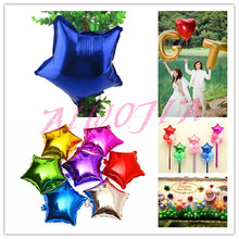 Hot Sell 50Pcs 25cm Wedding Decorations Five-pointed Star Aluminum Foil Balloon Birthday Wedding Party Decor Balloons 8ZSH809(China)