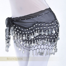 Belly Dance Accessories 128 silver coins Hip Scarf Belt Chain practice dancewear dance school cloths 13 colors to choose SF271