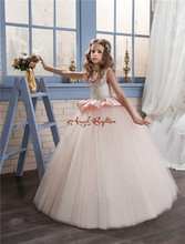 2017 Pretty Princess pink and white lace ball gown Flower Girls' Dresses appliques bead Crew Neck Formal Girl's Pageant Dress