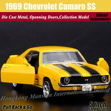 Diecast Classic Car Model For 1969 Chevrolet Camaro SS 1:36 Scale Alloy Metal Collection Model Pull Back Toys Car(China)