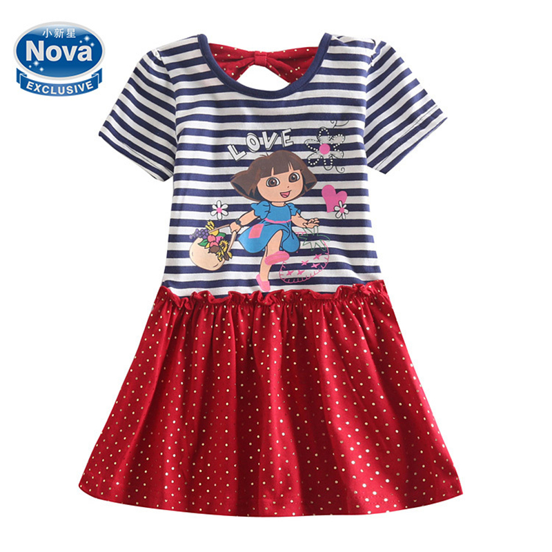 Girl children dora dresses kids 100% cotton clothing casual party dresses girls evening dress girl summer style dress H5053<br><br>Aliexpress