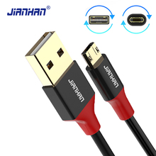 JianHan USB Cable Reversible Micro USB extension Fast 2A data Charging cord Cable Xiaomi Samsung Huawei LG Android Phone