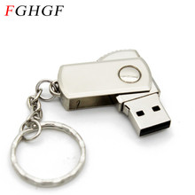 FGHGF Metal rotatable usb flash drive pen dirve usb 2.0 pendrive 4GB 8GB 16GB 32GB Memory stick U disk with flash card keychain(China)