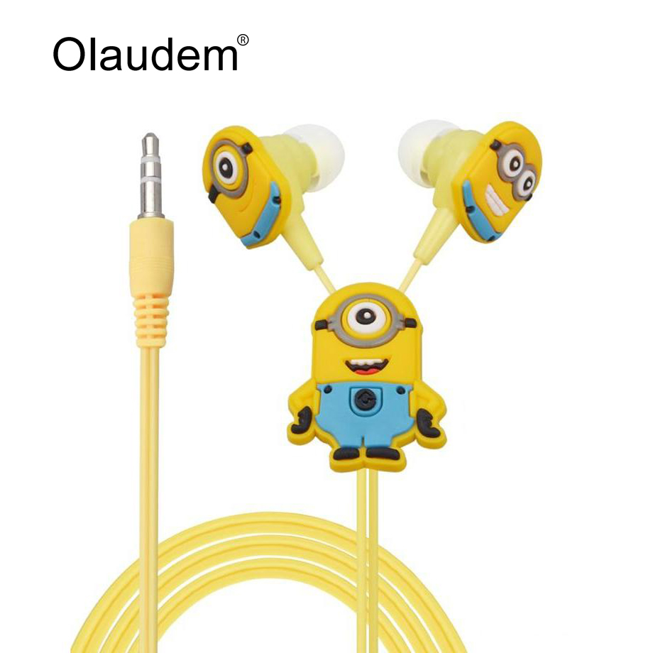 Despicable Me Minions Cartoon In-ear Wired 3.5 mm Earphone for MP3 MP4 Mobile Phone With Earplug Cover EP338(China)
