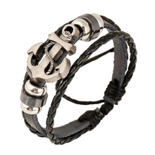 Charm Navy Anchor Bracelets For Men Handmade Black Leather Woven Cuff Bracelet Wristband Wrap Male Bangles Jewelry
