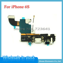 "10pcs/lot New Charging Charger Port USB Dock Connector Flex Cable For iPhone 6S 4.7"" with Headphone Jack Mic Flex Cable Ribbon"