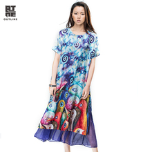 Outline Women Summer Print Dress Short Sleeve Casual Linen Two Piece Party Dress Plus Size Silk Print Long Beach Dress L162Y038(China)