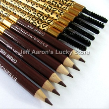 12pcs Leopard 2 IN 1 Brown eye brow pencil with brush Makeup Brown Eyebrow pen comb Wholesale