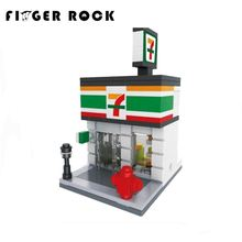 Mini Street City Series Enlighten Building Blocks Coffe Store Apple Shop Mcdonald's Model DIY Assembly Bricks Gift For Children