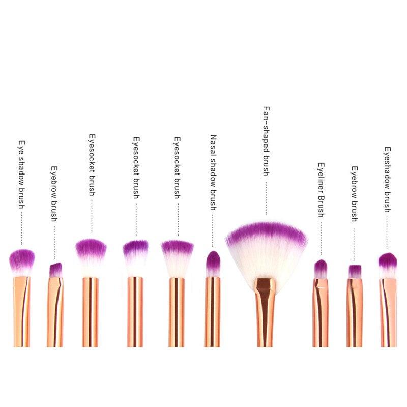 Mermaid Shaped Makeup Brushes Set 10pcs Fishtail Foundation Powder Eyeshadow Eysbrow Blusher Contour Blend Cosmetic Brushes Kit 17