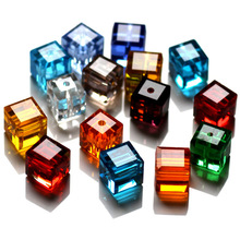 AAA 8x8mm cube faceted glass crystal beads fashion necklace accessories jewelry making beads 100pcs