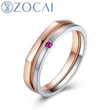2015 New Arrival ZOCAI 2 in 1 Ring 0.01 CT Real Ruby Dual Color 18K White Gold & 18K Rose Gold (Au750) Wedding Women Ring W06298