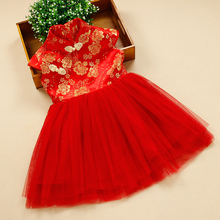 90-160cm Children's Chinese Cheongsam Red Yarn Dress 2017 Girls Elegant Dresses Kids Traditional Chinese Garments Free Shipping