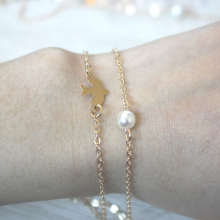 Fashion Double Chain Pigeons Bird Bracelets Imitation Pearl Bracelet Gold&Silver Plated Jewelry