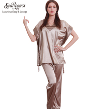 SpaRogerss Hot Fashion Women Pajamas Summer 2017 Brand Ladies Satin Pijama Short Sleeve Silk Pajamas Sets Pyjamas Women YT167