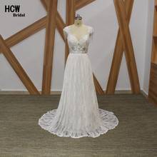 Romantic Boho Wedding Dress Exquisite Beaded Lace Beach Bridal Gowns Backless V Neck Floor Length Vintage Wedding Dresses