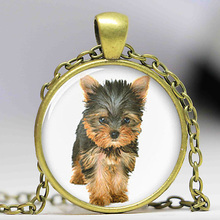 1pcslot Yorkie necklace, Yorkshire Terrier cute dog pendant Glass Photo dog gift