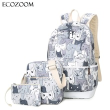 3pcs/set Cat Printing Women Casual Backpack Teenagers Girls Polyester School Bag Cute Lady Bookbag Travel Packbag Animal Bagpack(China)