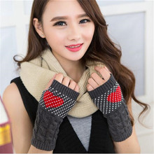 Fingerless Knitted Winter Gloves Women Guantes Mujer Handschuhe Cute Red Heart Girls Ladies Office Half Gloves Wrist Warmers(China)