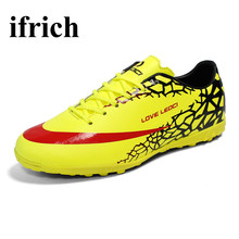 Ifrich Men Soccer Shoes Turf Cleats Leather Indoor Football Shoes Orange/Green Cheap Soccer Cleats Cheap Training Football Boots
