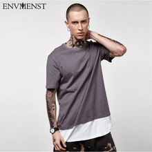 2017 Summer Men's Hipster Hip Hop Patchwork Longline T Shirt Fashion Solid Extended Tees Short Sleeve Rounded Hem Urban Clothing(China)