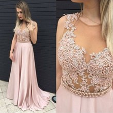 2017 Long Prom Dress Chiffon Pearls Beaded A Line Scoop Neckline Inexpensive Prom Gown vestido de baile
