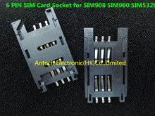 Free Shipping!   50pcs   6 PIN GSM 3G SIM Card Sockets for SIM908 SIM900 SIM5320