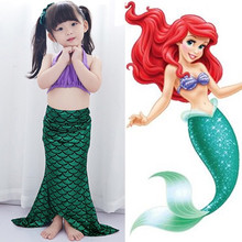 Fairy Tale Girl Mermaid Costume Children Halloween Ariel Costume Baby Swimsuit bathing suit Party fancy dress(China)