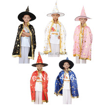 Free shipping ,halloween cosplay party witch cape cloak black red pink white blue children cape+hat ,75cm length