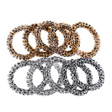 10PCS Fashion Elegant Gold/Silver  Leopard Elastic Rubber Scrunchie Telephone Wire Hairbands Ponytail Holder Leopard Hairband