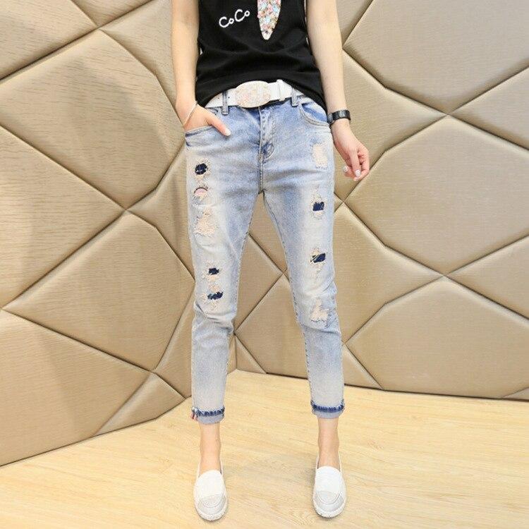 Discount womens jeans spring/summer new light holes slimming fashion of nine foot fashion harem jeansÎäåæäà è àêñåññóàðû<br><br>