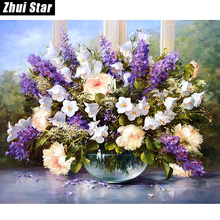 "New 5D DIY Diamond Painting ""Windows flowers"" Embroidery Full Square Diamond Cross Stitch Rhinestone Mosaic Painting Decor Gift"