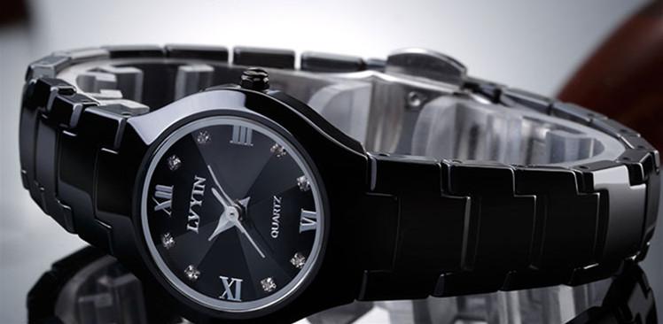 Lovers Black Ceramic Dress Watch, Quartz, Calendar, Roman Hours Crystals 20