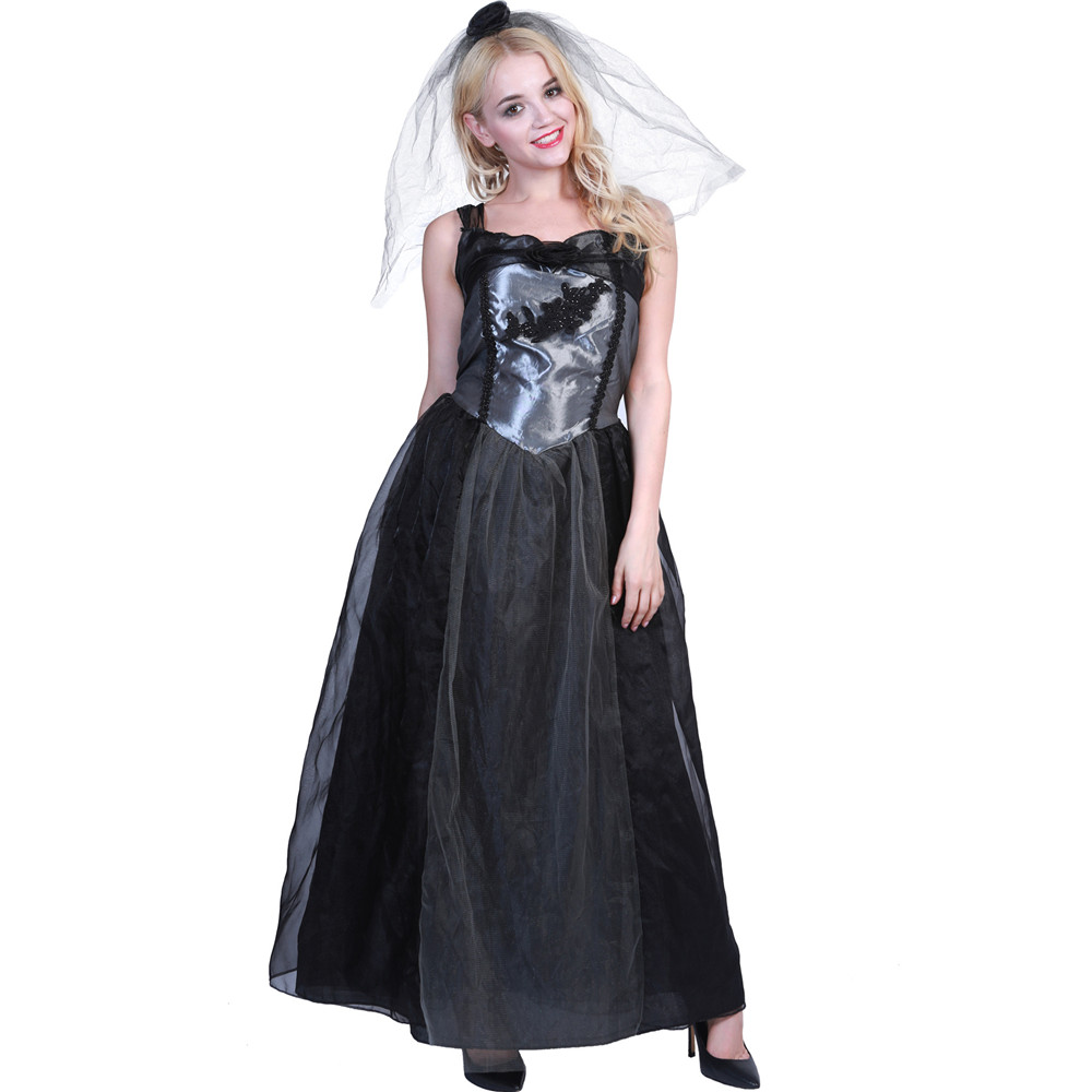 Halloween Carnival Christmas Cosplay Ghost Bride Black Wedding Vampire Devil Dress Adult Dresses women costumes full set