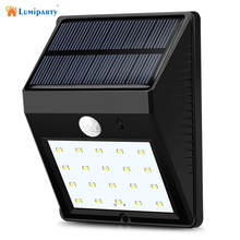 Lumiparty 20LED Solar Panel Powered Motion Sensor Lamp Outdoor Light Garden Security Wall Light for Patio, Deck, Yard(China)