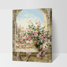 with frame Window Flowers Scene DIY Painting By Numbers Kits paintings for living room wall Coloring Painting By Numbers 40*50cm